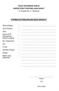 Formulir Pengaduan Masyarakat Inspektorat Daerah Provinsi Jawa Barat